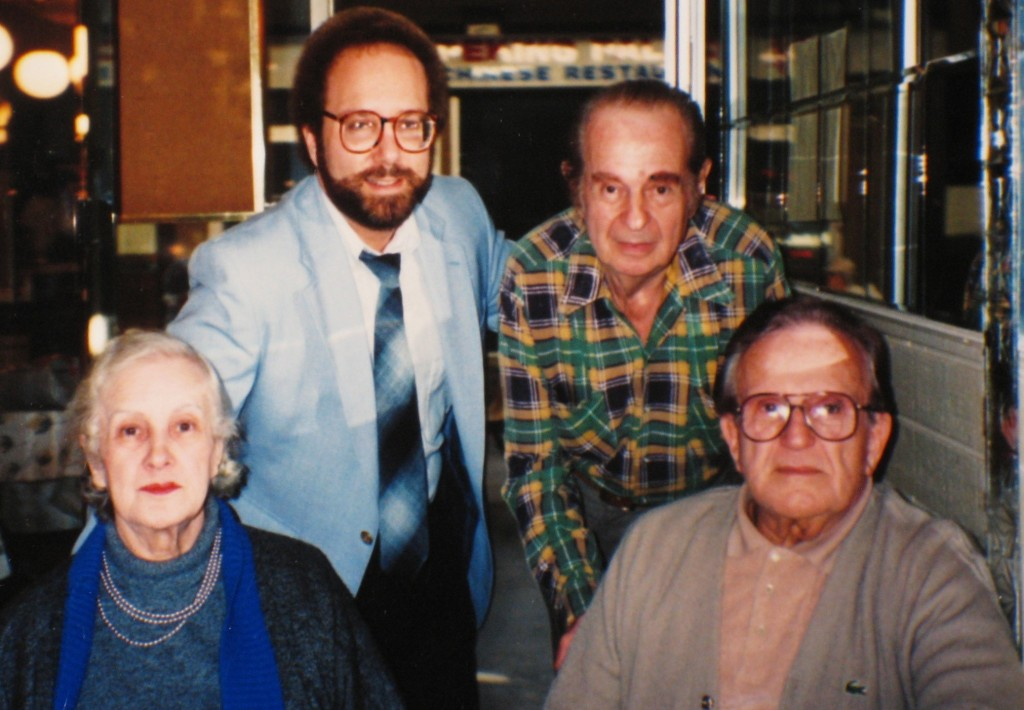 Journalist Steve North with the siblings of Jack Ruby: From left, Eva, Sam and Earl, 1989.