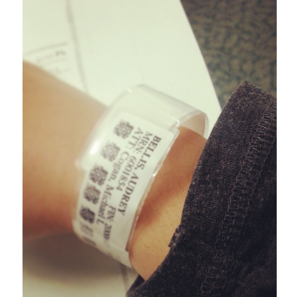 Waiting at the hospital. Personal photo via @audreybellis' instagram