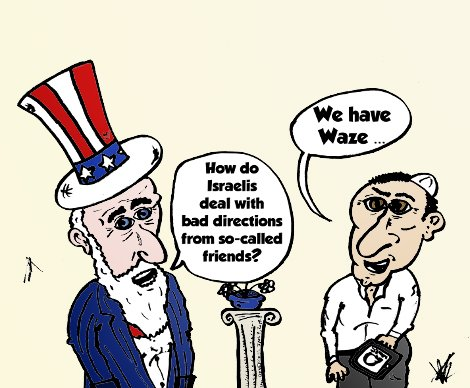 Israel and its waze cartoon from January 7, 2014