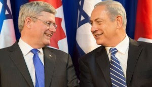 Harper-Netanyahu-Happy to be nation allies - come visit Israel every month instead of John Kerry