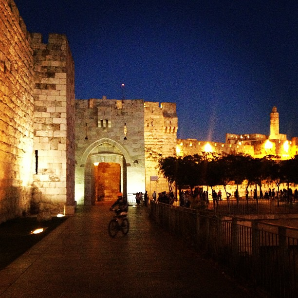 Night falls on Jaffa Gate. Photo by Avi Mayer.