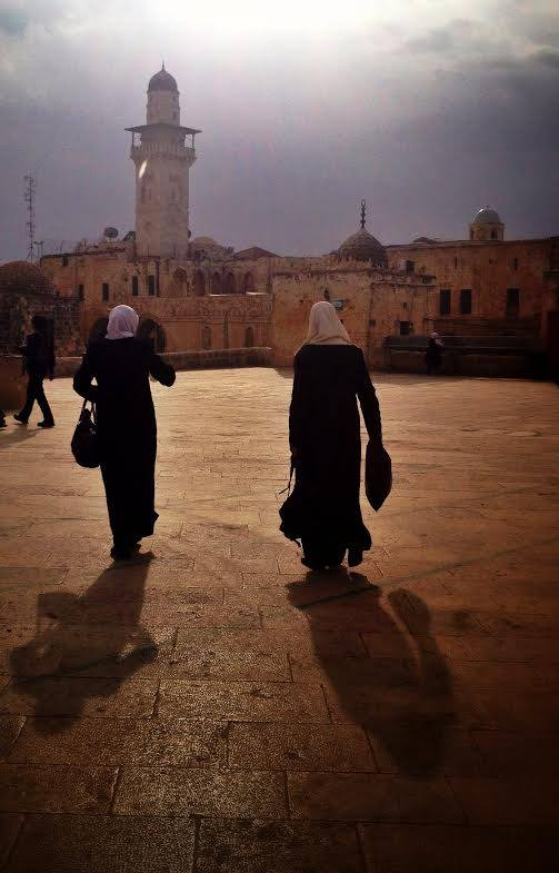 Women strolling near Al-Aqsa Mosque. Photo by Sarah Tuttle-Singer