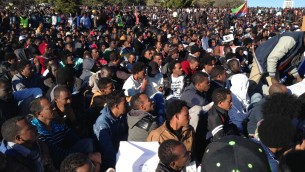 Approximately 10,000 African Asylum Seekers and their supporters gather across from the Knesset, asking for their voices to be heard.