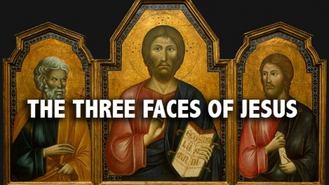Jesus (center), his brother James (left) and Peter (right)