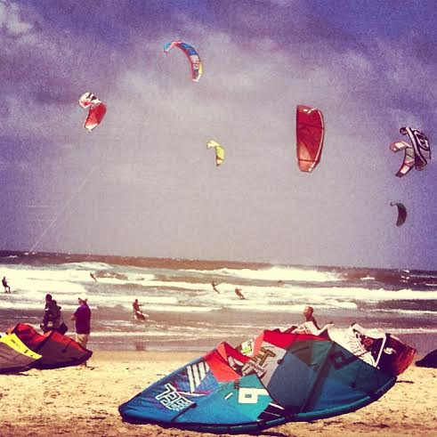 Kite surfing in Tel Aviv. Photo by Mara Friedman