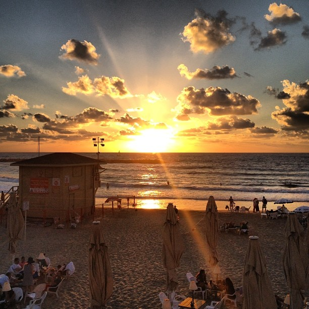 Sunset in Tel Aviv.  Photo by Avi Mayer.