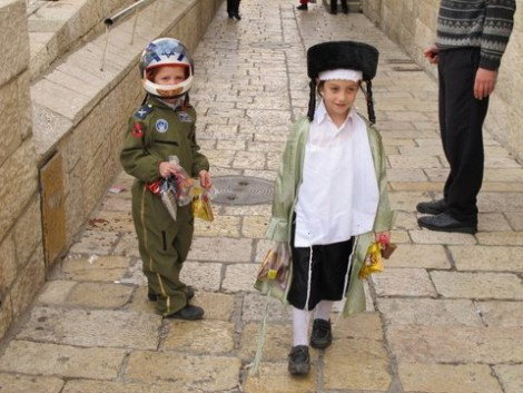 Soldier and Hassid Kids