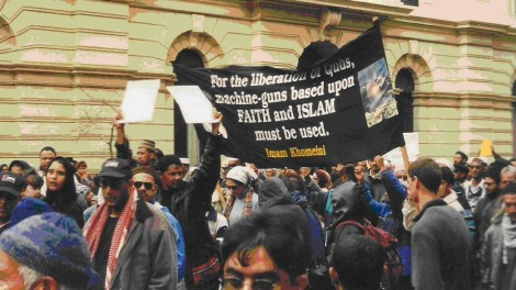 Typical Muslim demonstration outside Parliament in Cape Town with usual inflammatory, anti-Israel speeches and posters.  (Photo by David Kaplan)