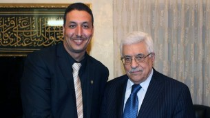 'One Voice Palestine'  senior activist Ibrahim Mubarak smiling in the company of Palestinian Authority/PLO leader Mahmoud Abbas