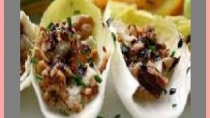 Stuffed Endive with Figs, Bleu Cheese, Oranges and Walnuts