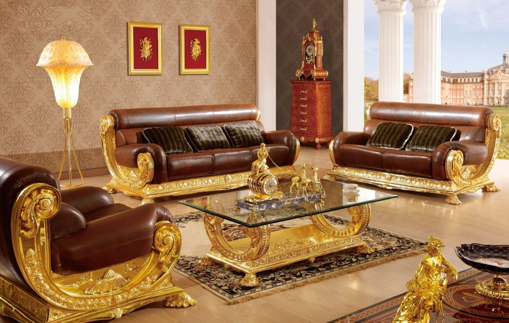Red and gold living room furniture trend home design and - Red gold and brown living room ...