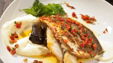 Fresh and Flaky Sea Bass with Eggplant Mousse for NIS 108