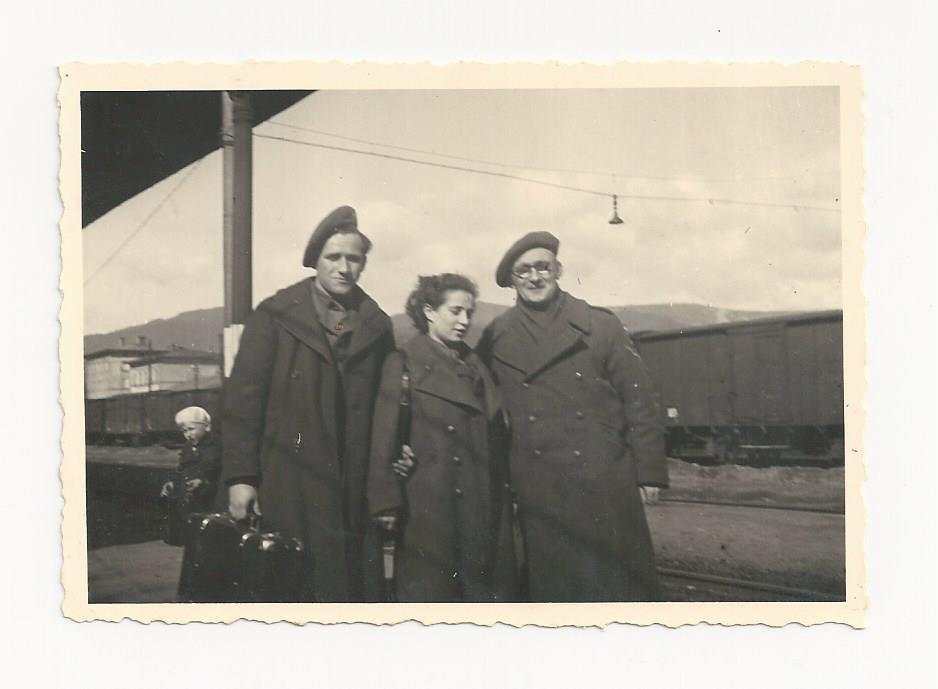 1946-From L-Yisrael Gringer, Rachel Katz and a friend in Europe after the war