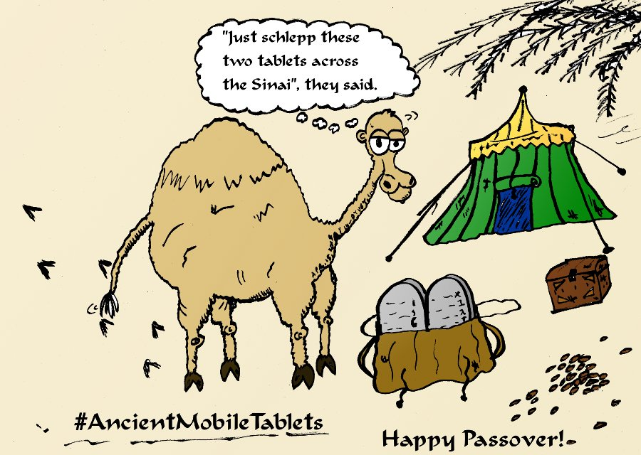 Mobile Tablets of Pesach cartoon