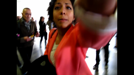 Moment of attack by BDS activist at Paris 8 University (Photo by Ido Daniel)