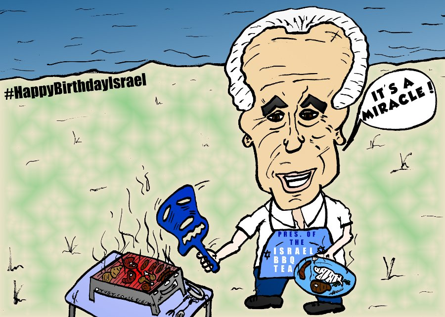 israel yom ha'atzmaut barbeque president shimon peres caricature
