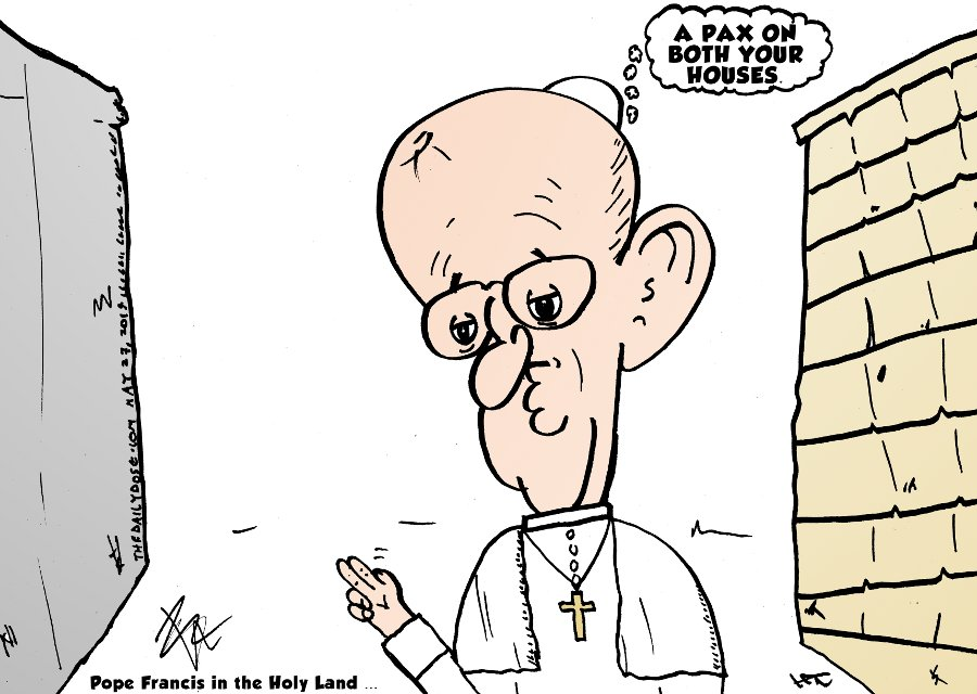Pope Francis Visits Walls in Bethlehem and Jerusalem cartoon by laughzilla