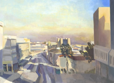Jerusalem City Center, Dusk, 80 cm x 100 cm oil on linen © by Heddy Abramowitz