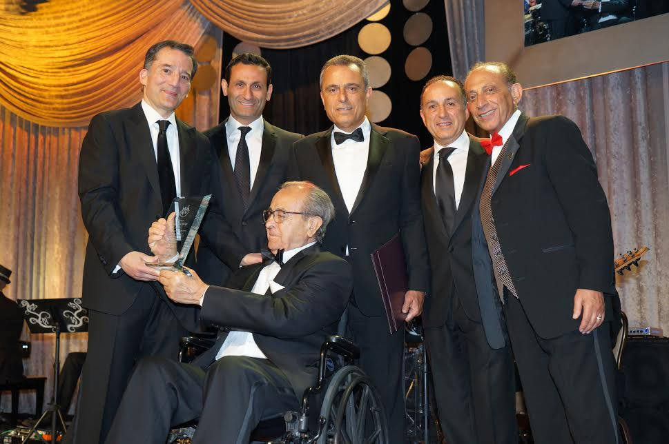 L-Honoree Rabbi David Wolpe, Benjamin Nazarian, Magbit President Dr. B Broukhim, Board Chairman Shaw Shahery, Gala Chair Jimmy Delshad; sitting Parviz Nazarian, presenter, founder & chairman of endowment-photo Orly Halevy