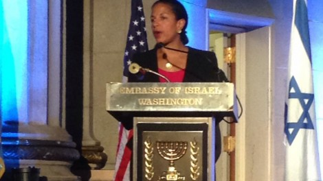 Susan Rice speaking at Israeli Embassy Party - Photo: Brian of London