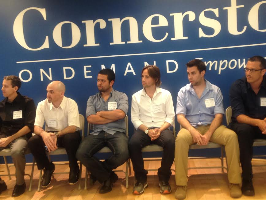 The group during Q&A-from R-Roi Mozer and Asaf Nevo PICO, Ziv Lautman BreezoMete, Assaf Guez APPTOEAT, Haggai Meltzer SALIENTEYE, Daniel Rockberger NSLcomm