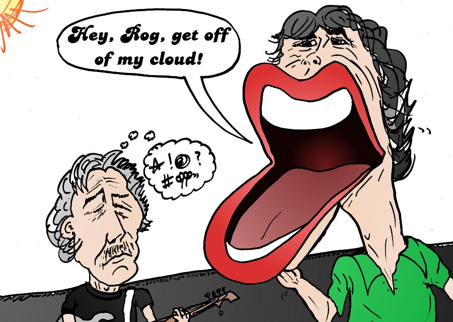 laughzilla's editorial cartoon of The Rolling Stones front man vs. the old Pink Floyd co-founder on the issue of performing in Israel