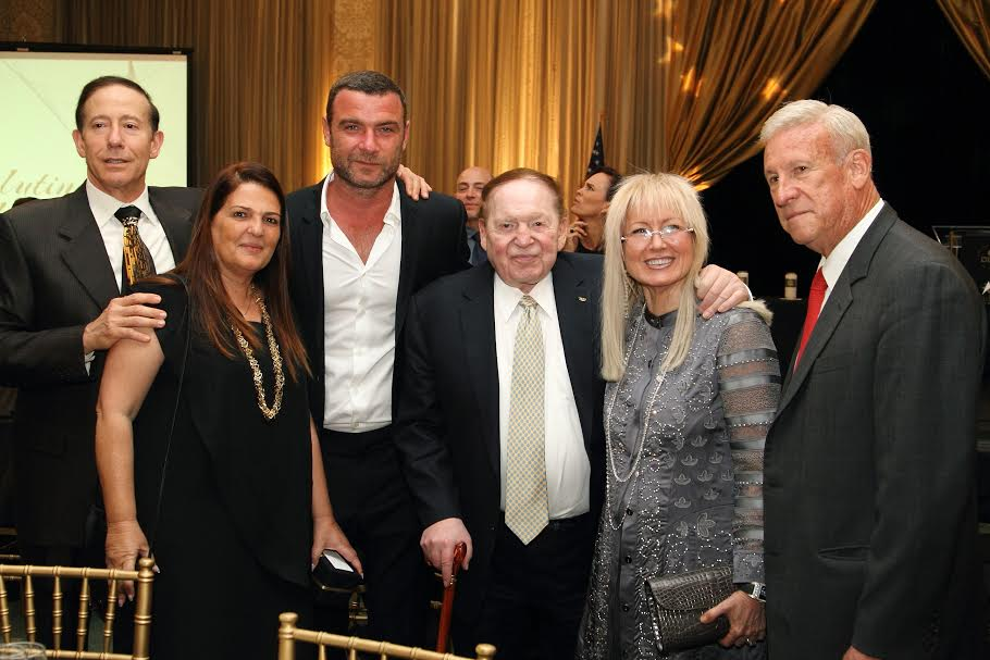 From R-Phil Blazer, Dr. Mirian and Sheldon Adelson, Liev Schrieber, Dorit Novak Director General of Yad vashem Israel, Adam Milstein-Photo by  Michelle Mivzari