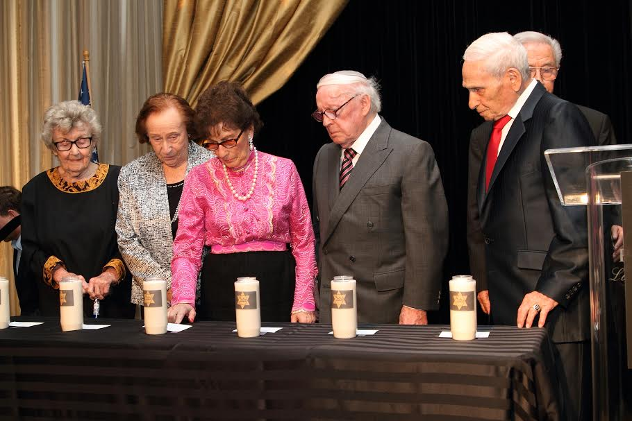 Holocaust Survivors light the 6 memorial candles-Photo by  Michelle Mivzari