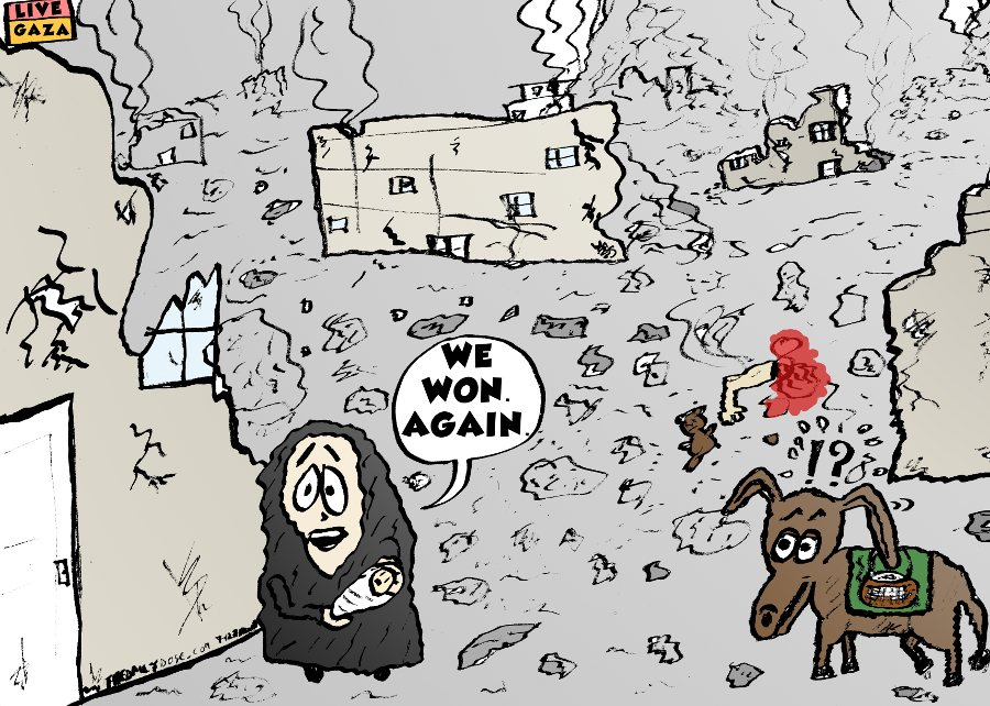 "laughzilla's cartoon on hamas' latest declaration of ""winning"" in the latest war against Israel"