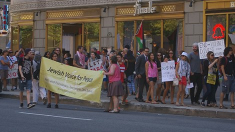Jewish Voice for Peace protests in front of the Israeli Consulate in Boston on July 11, 2014. Photo: Dexter Van Zile