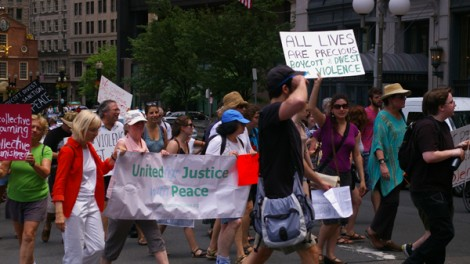 Activists from United for Peace With Justice march at a rally organized by Jewish Voice for Peace on July 9, 2014. Photo: Dexter Van Zile