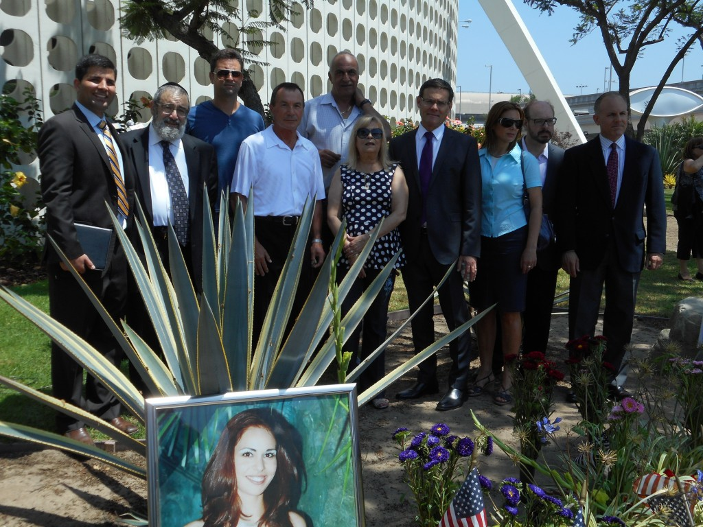 From R-Pastor Ramin Parsa, Rabbi Zvi Block, brother Udi Hen, El-Al Station Manager at the time of the terror attack Klaus Benamy-Heckel, parents Avi & Rachel Hen, Israel consul general David Segal, Leehy Shaar aunt of murdered teen Gil-ad Shaar, moderator Scott Jacobs, Congress Candidate Elan Carr