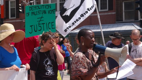 Karlene Griffiths speaks at an anti-Israel rally organized by Jewish Voice for Peace on July 9, 2014. Photo: Dexter Van Zile