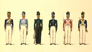 Painting_of_six_figures_depicting_military_uniforms
