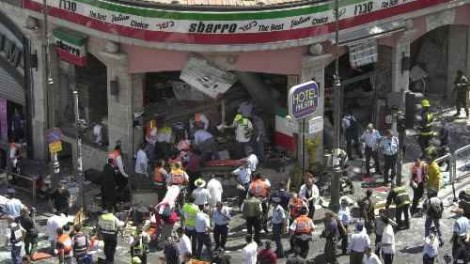 The aftermath of the 2001 Sbarro Restaurant bombing