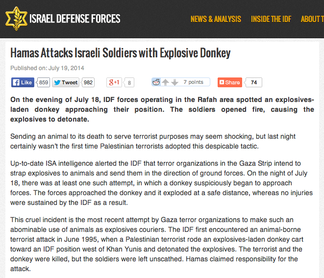Screen capture of IDF Blog post