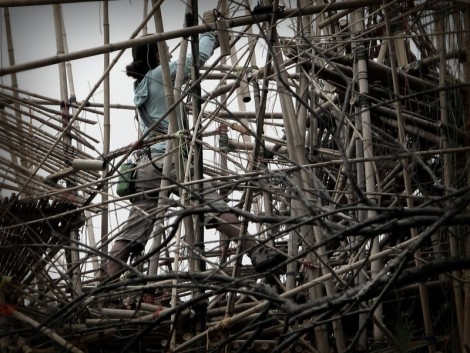 Tightening Knots on Big Bambu by Doug and Michael Starn, © 2014 by Heddy Abramowitz