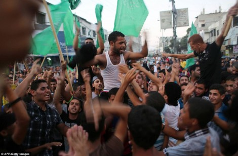 Hamas celebrating in Gaza.