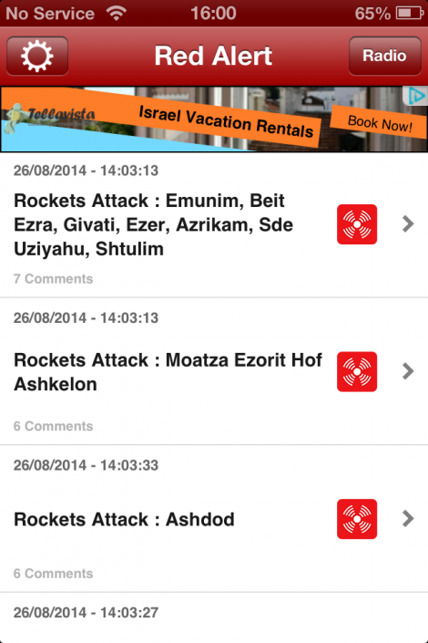 Warnings of rocket attacks on Israel from the iPhone Red Alert app (photo credit: Gavin Gross)