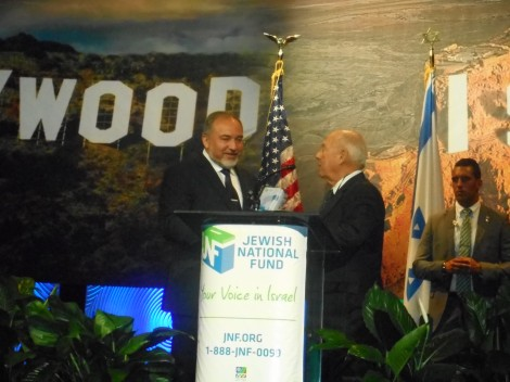 Alan Dabrow, First Vice President of JNF congratulating FM Avigdor Lieberman-Photo by Nurit Greenger