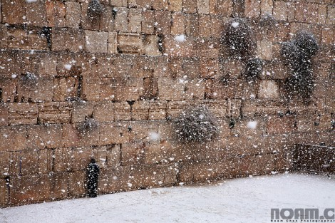 western wall during snowfall