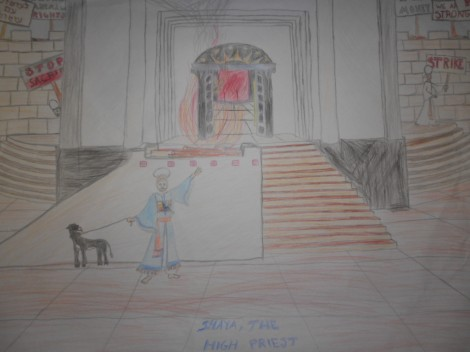 Eli Schoenfeld drew this for me in 2001.  Look closely and you can see the protesters.