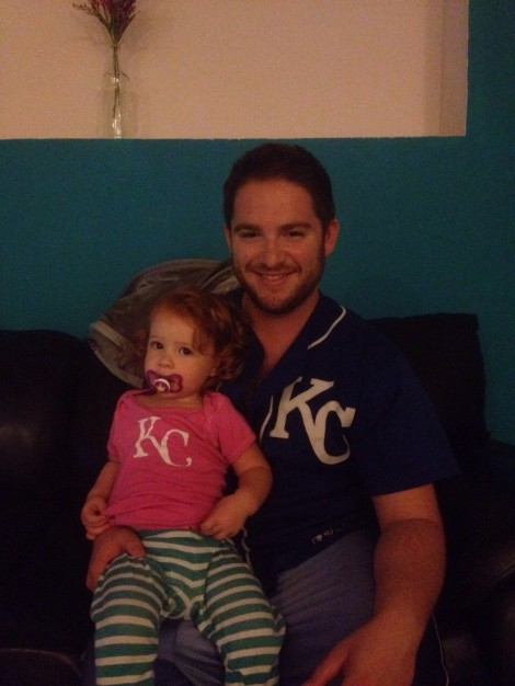 Naftali Schwartz, with daughter Yuval, has been a Royals fan for more than 2o years. Now, the Hashmonaim resident is trying to crowd-fund his way to the playoffs.