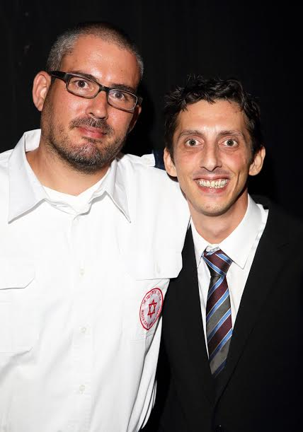 Jehan Barman R with the paramedic who saved him Dr. Oren Wacht-Photo by Joe Shalmoni