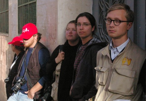 "International ""peace"" and ""human rights"" activists in Hebron waiting for Jews to something bad. (Photo: Dexter Van Zile.)"