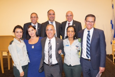 From R-bottom row-David Siegel, Consul General, Colonel Yafa Mor, Stuart and Evie Steinberg, Elinor Barzon. Upper row-consul Danny Gadot, Mr. Aryeh Muallem, Yakov Gabai-Photo Orly Halevy