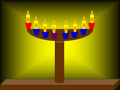The Hanukkiah turned into a Menorah for Shabbat