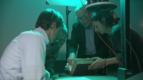 "Barrie Willson with curator from British Library and multispectral imaging experts ""x-raying"" the ancient text"