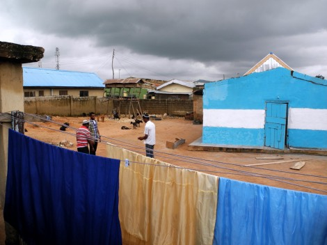 The nearly-finished painting of Tikvat Israel Synagogue is stopped as storm clouds roll over Abuja. Photo - Shai Afsai