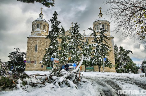 jerusalem church covered with snow